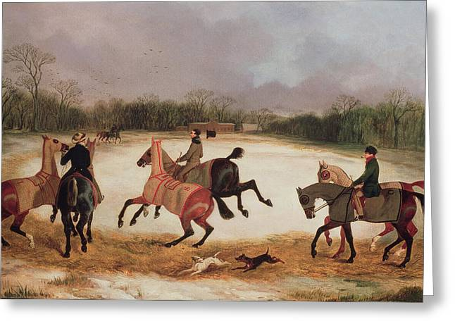 Dog Trots Greeting Cards - Grooms exercising racehorses  Greeting Card by David of York Dalby