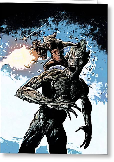 Comics Greeting Cards - Groot and Rocket Raccoon Greeting Card by - BaluX -