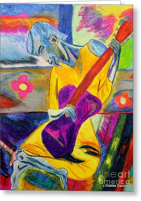 Collection Pastels Greeting Cards - Groovy Blues Man Greeting Card by Debbie Davidsohn