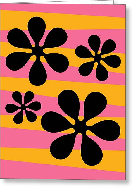 70s Greeting Cards - Groovy Flowers I Greeting Card by Donna Mibus