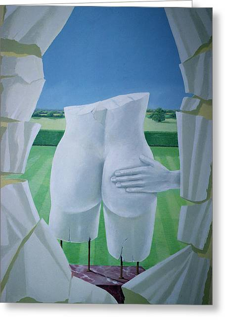 Posterior. Greeting Cards - Groping Statues Acrylic On Canvas Greeting Card by Lincoln Seligman