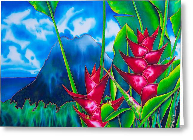 Original Art Tapestries - Textiles Greeting Cards - Gros Piton and Heliconia Greeting Card by Daniel Jean-Baptiste