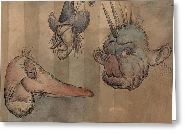 Sketchbook Greeting Cards - Grotesque Faces II Greeting Card by Don Michael