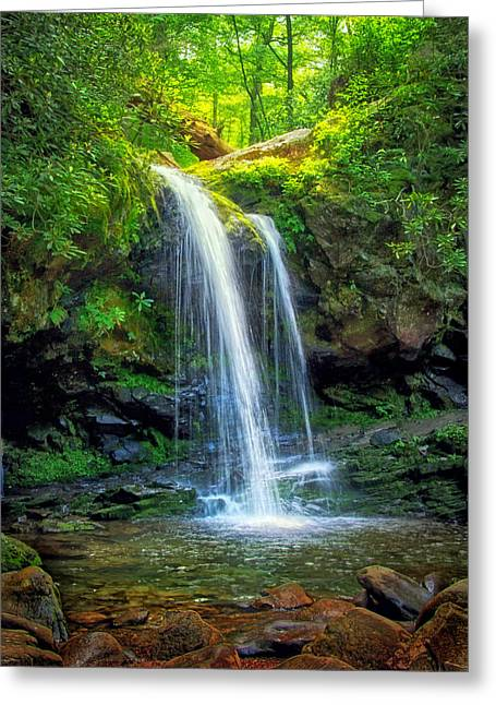 Roaring Fork Road Photographs Greeting Cards - Grotto Falls Greeting Card by Carolyn Derstine
