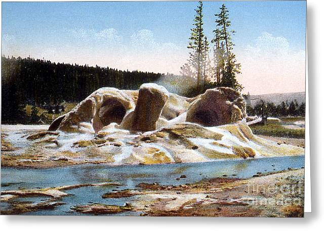 Usa Photographs Greeting Cards - Grotto Geyser Yellowstone Np Greeting Card by NPS Photo Frank J Haynes