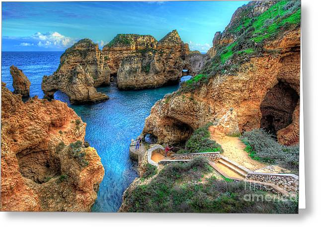 Grottos At Ponta Piedade Greeting Card by English Landscapes