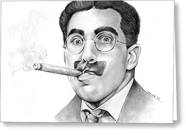 Cigar Drawings Greeting Cards - Groucho Greeting Card by Greg Joens