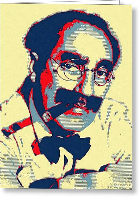 Mustaches Mixed Media Greeting Cards - Groucho Marx Greeting Card by Art Cinema Gallery