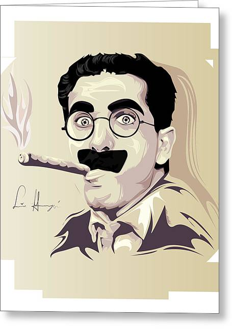 Groucho Marx Digital Art Greeting Cards - Groucho Marx Greeting Card by Lina Garzon