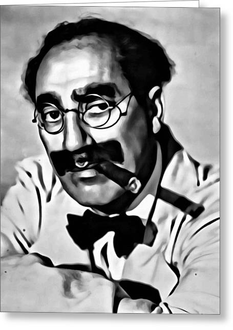 Groucho Greeting Cards - Groucho Marx Portrait Greeting Card by Florian Rodarte