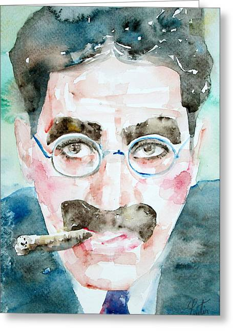 Marx Brothers Greeting Cards - GROUCHO MARX watercolor portrait.1 Greeting Card by Fabrizio Cassetta