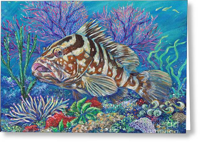 Nassau Grouper Greeting Cards - Groucho the Grouper Greeting Card by Li Newton