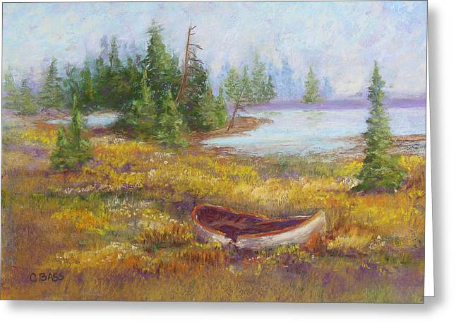 Canoe Pastels Greeting Cards - Grounded Greeting Card by Christine Bass