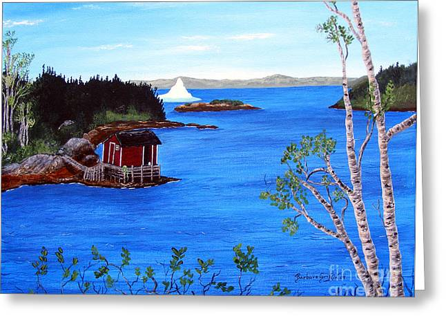 Shed Paintings Greeting Cards - Grounded Iceberg Greeting Card by Barbara Griffin