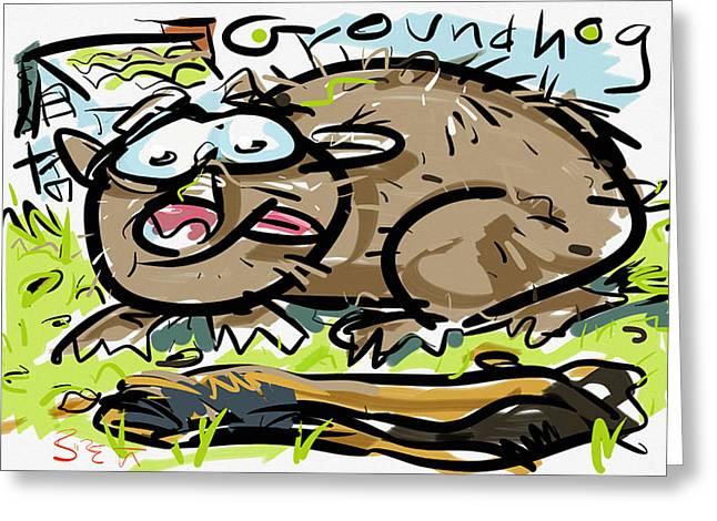 Groundhog Digital Greeting Cards - Groundhog Greeting Card by Brett LaGue