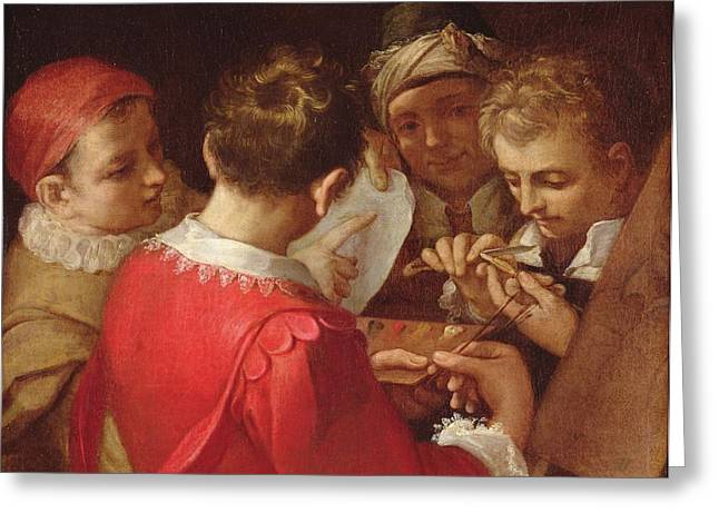 Discussing Photographs Greeting Cards - Group Of Artists Oil On Canvas Greeting Card by Annibale Carracci