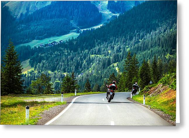 Scenic Drive Greeting Cards - Group of bikers in mountains Greeting Card by Anna Omelchenko