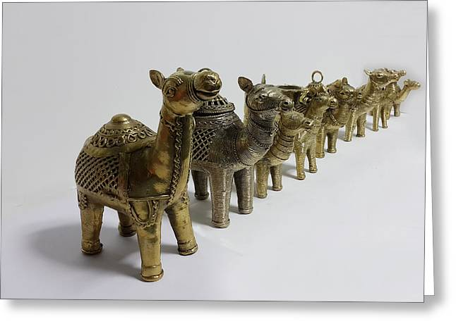Asia Sculptures Greeting Cards - Group of camels Greeting Card by Art Tantra