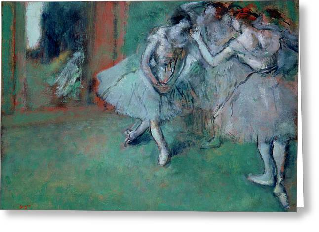 Ballet Dancers Greeting Cards - Group Of Dancers, 1890s Oil On Paper Laid On Canvas Greeting Card by Edgar Degas