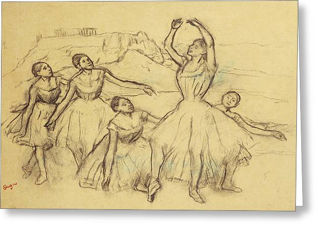 Ballet Dancers Drawings Greeting Cards - Group of Dancers Greeting Card by Edgar Degas