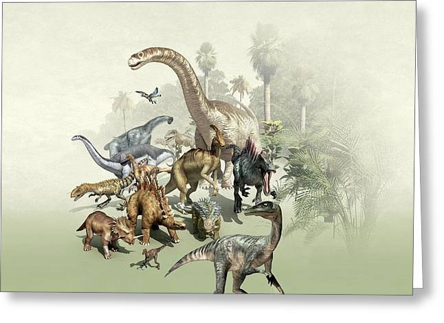 Group Of Dinosaurs Greeting Card by Mikkel Juul Jensen
