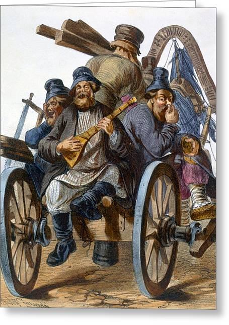 Wagon Drawings Greeting Cards - Group Of Drunken Peasant Men Singing Greeting Card by Rudolf Jukowsky