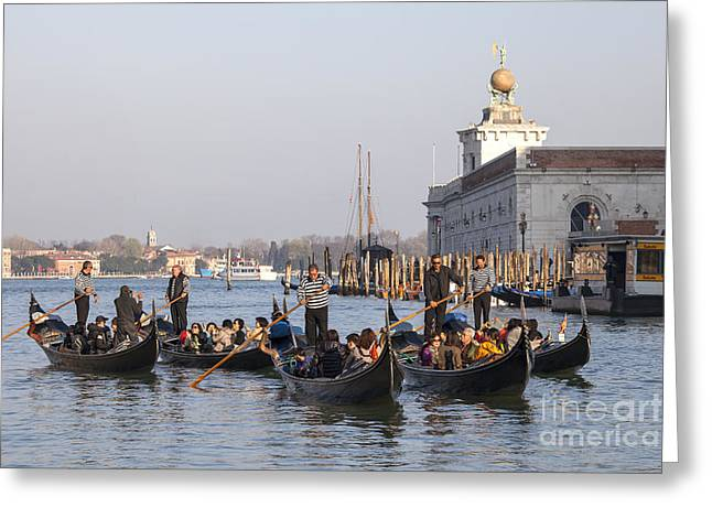 Gondolier Greeting Cards - Group of gondoliers and tourists Greeting Card by Patricia Hofmeester