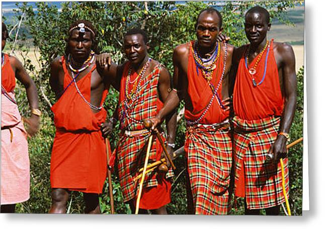 African Clothing Greeting Cards - Group Of Maasai People Standing Side Greeting Card by Panoramic Images