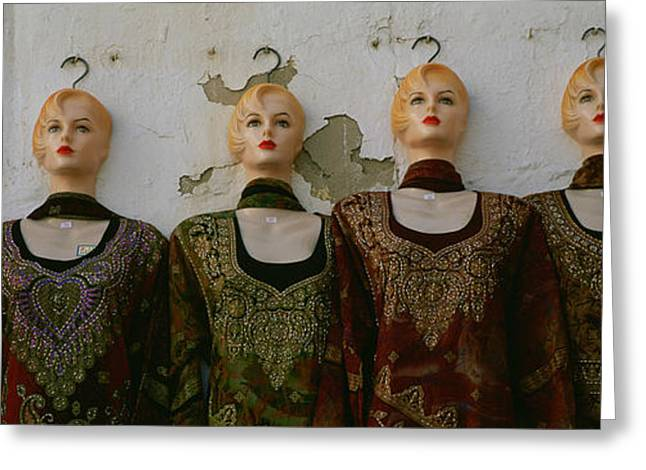 Anticipation Photographs Greeting Cards - Group Of Mannequins In A Market Stall Greeting Card by Panoramic Images