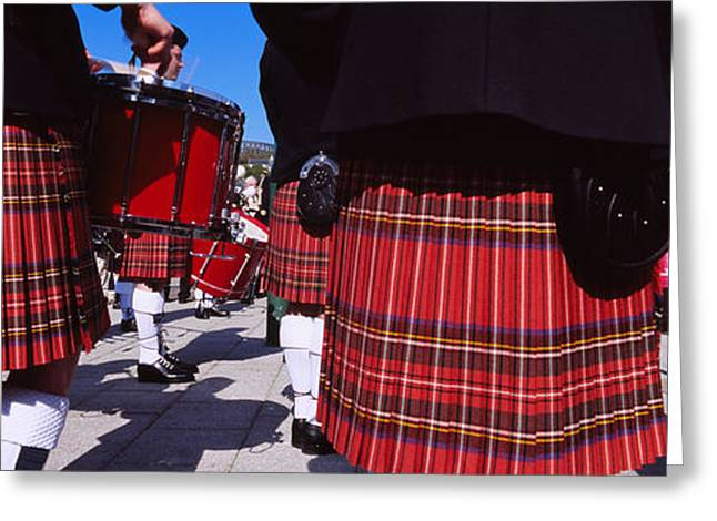 Plaid Dress Greeting Cards - Group Of Men Playing Drums In The Greeting Card by Panoramic Images