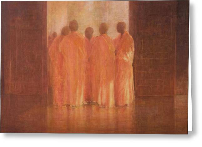 Vietnamese Greeting Cards - Group Of Monks, Vietnam Greeting Card by Lincoln Seligman