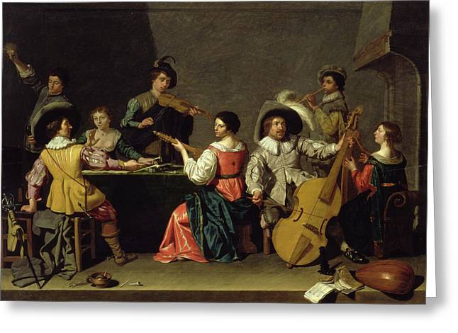 Wine Pouring Greeting Cards - Group Of Musicians Greeting Card by Jan van Bijlert or Bylert