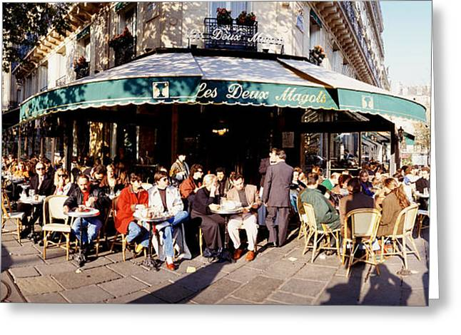 Colors Of Autumn Greeting Cards - Group Of People At A Sidewalk Cafe, Les Greeting Card by Panoramic Images