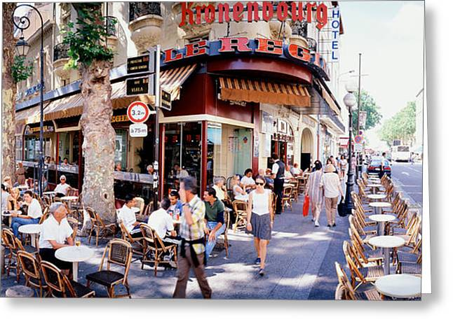 Local Food Places Greeting Cards - Group Of People At A Sidewalk Cafe Greeting Card by Panoramic Images