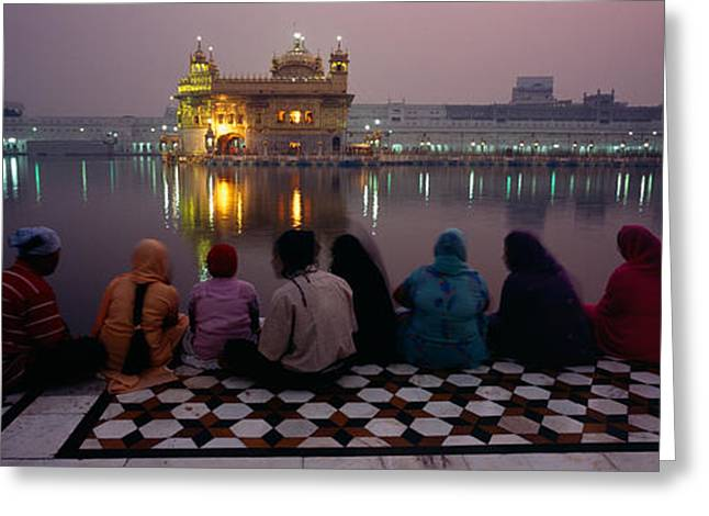 Waist Up Greeting Cards - Group Of People At A Temple, Golden Greeting Card by Panoramic Images