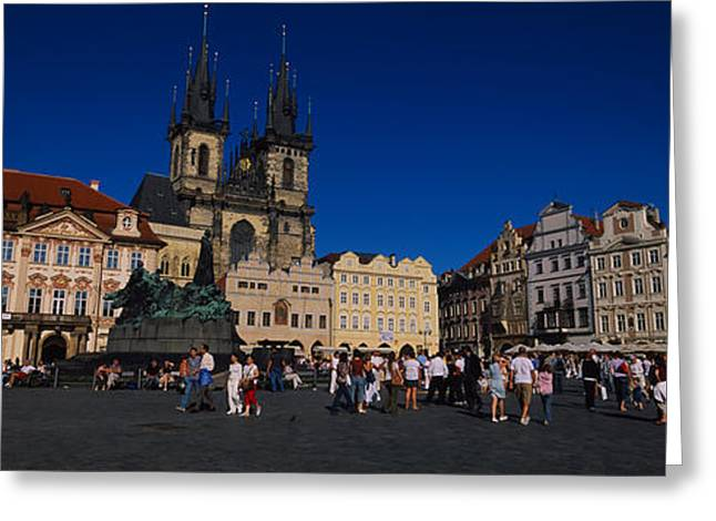 Town Square Greeting Cards - Group Of People At A Town Square Greeting Card by Panoramic Images