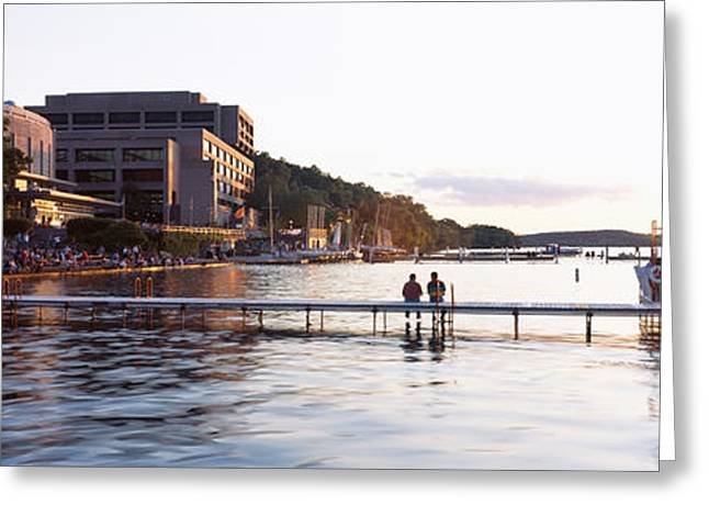 Lake Mendota Greeting Cards - Group Of People At A Waterfront, Lake Greeting Card by Panoramic Images
