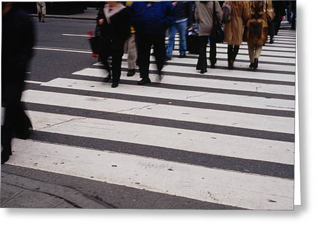 Crosswalk Greeting Cards - Group Of People Crossing At A Zebra Greeting Card by Panoramic Images