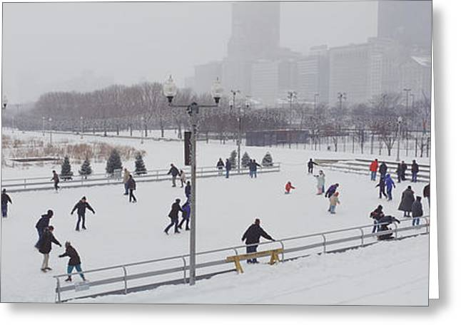 Ice-skating Greeting Cards - Group Of People Ice Skating In A Park Greeting Card by Panoramic Images