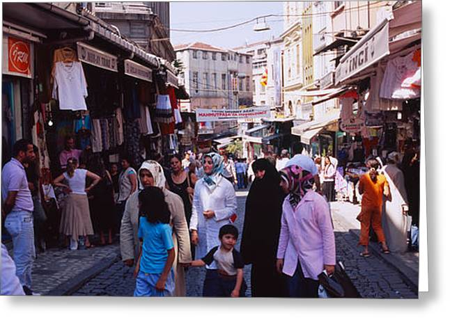 Western Asia Greeting Cards - Group Of People In A Market, Grand Greeting Card by Panoramic Images