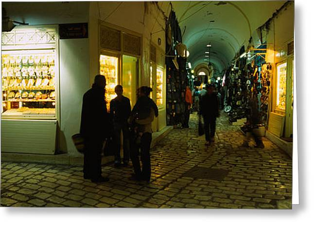 Tunisia Greeting Cards - Group Of People In A Market, Medina Greeting Card by Panoramic Images