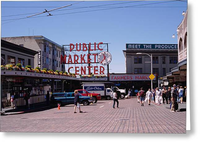 Blue Man Group Greeting Cards - Group Of People In A Market, Pike Place Greeting Card by Panoramic Images