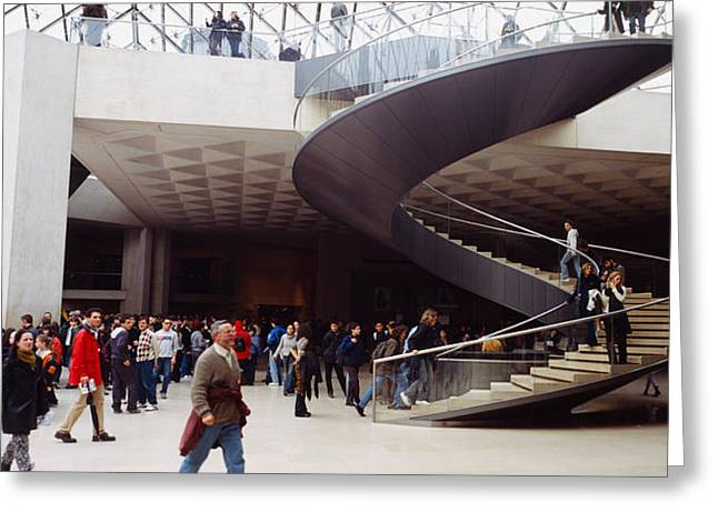 Spiral Staircase Photographs Greeting Cards - Group Of People In A Museum, Louvre Greeting Card by Panoramic Images