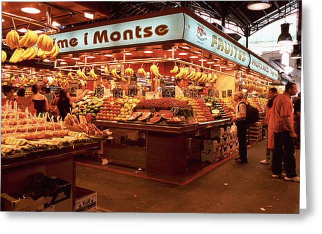 Street Market Greeting Cards - Group Of People In A Vegetable Market Greeting Card by Panoramic Images