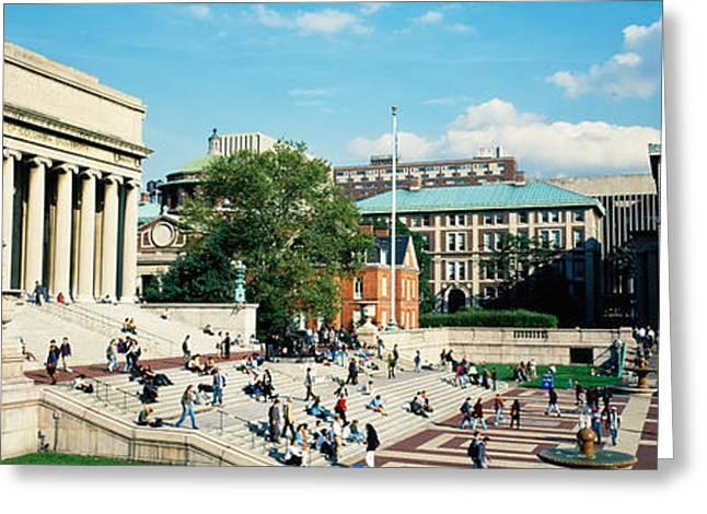 Group Of People In Front Of A Library Greeting Card by Panoramic Images