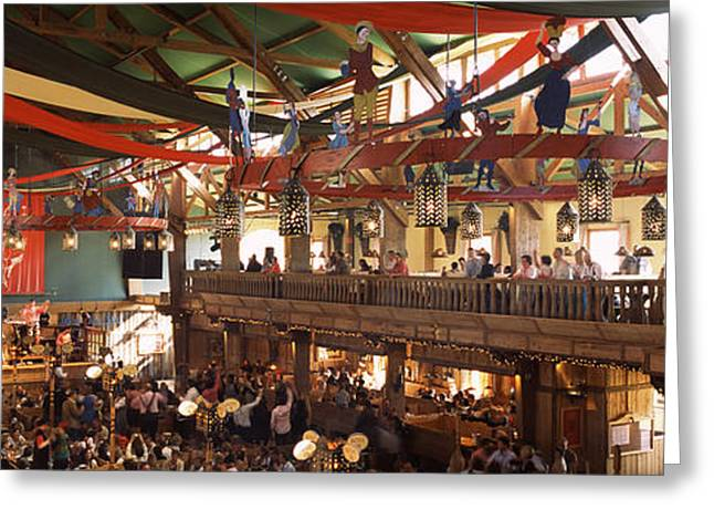 Arts Culture And Entertainment Greeting Cards - Group Of People In The Oktoberfest Greeting Card by Panoramic Images