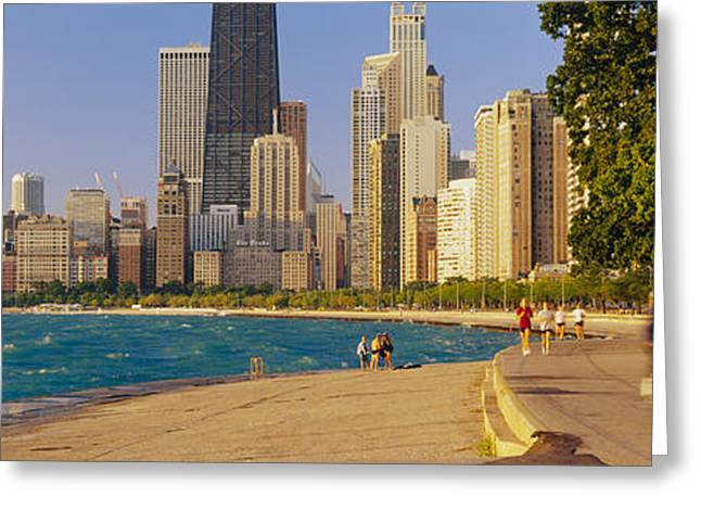 Jogging Photographs Greeting Cards - Group Of People Jogging, Chicago Greeting Card by Panoramic Images