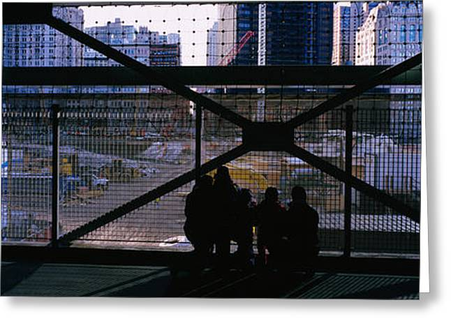 Ground Zero Greeting Cards - Group Of People Looking At A Memorial Greeting Card by Panoramic Images