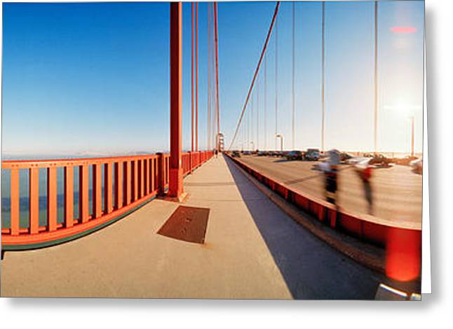 Marin County Greeting Cards - Group Of People On A Suspension Bridge Greeting Card by Panoramic Images