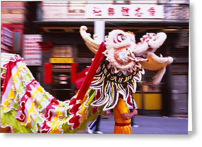 Arts Culture And Entertainment Greeting Cards - Group Of People Performing Dragon Greeting Card by Panoramic Images